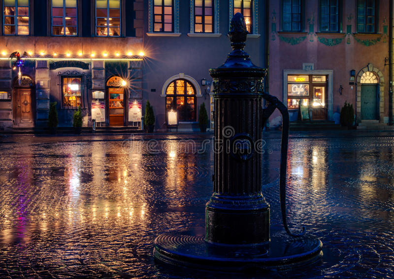 A wet square in Warsaw stock photo