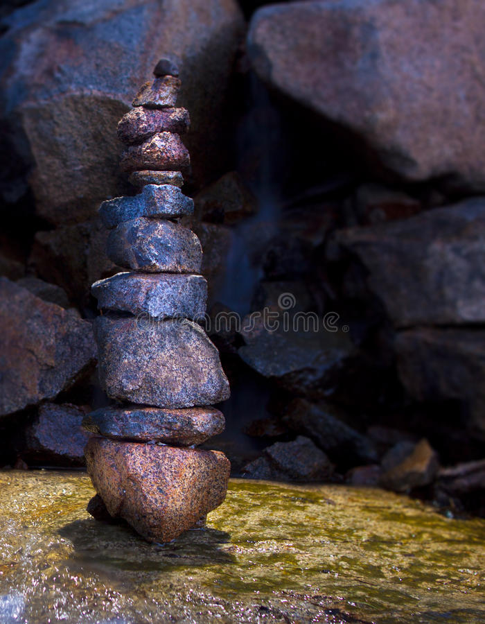 Wet Stone Cairn Stack Royalty Free Stock Photos