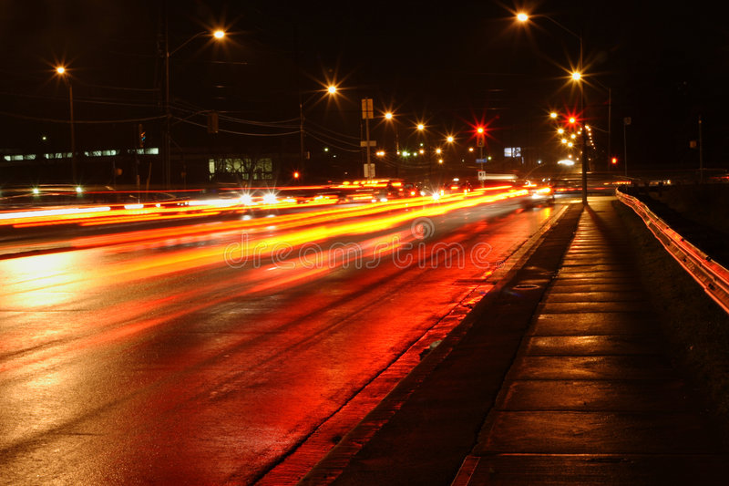 Download Wet Street And Abstract Light Trail Royalty Free Stock Photography - Image: 1513107