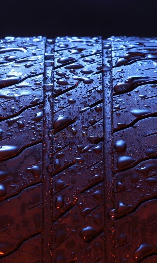 Wet tire stock photo