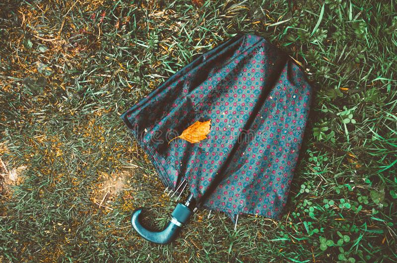 Wet umbrella and dry yellow leaf lying on the autumn ground, grass background. Fall season, concept. Love nature symbol. Wet umbrella and dry yellow leaf lying stock photos