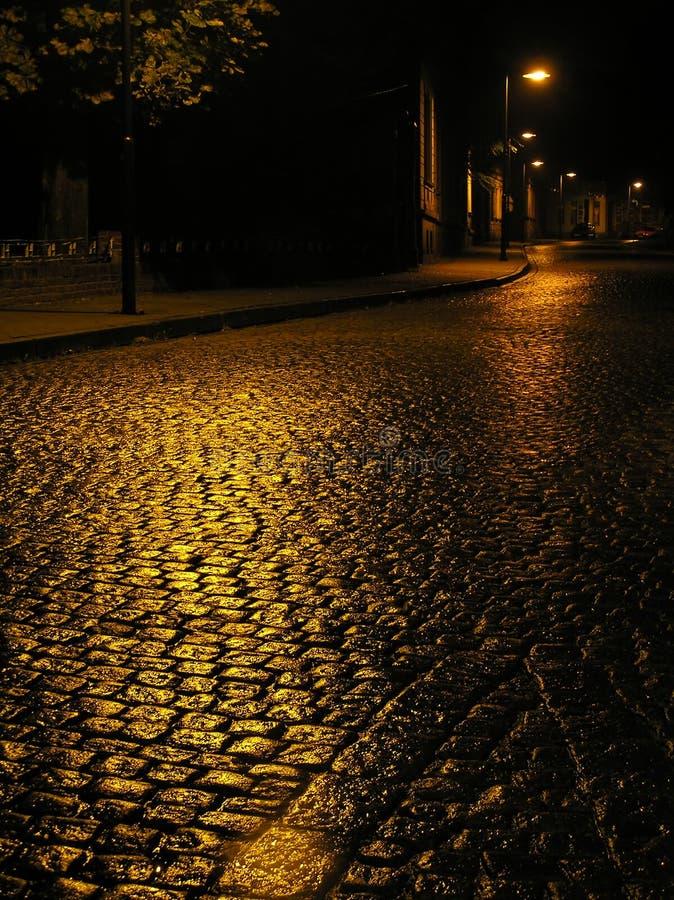 Wet urban road. royalty free stock photos