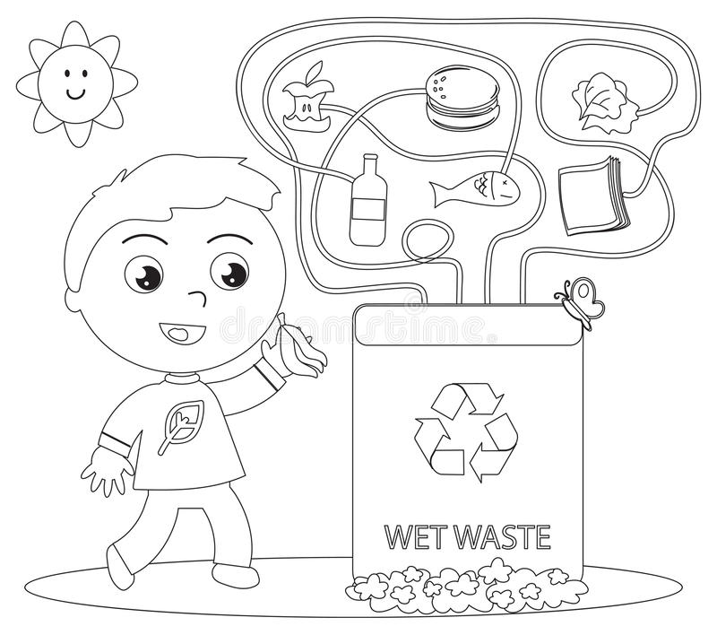 Wet waste recycling coloring game stock vector for Recycling coloring pages