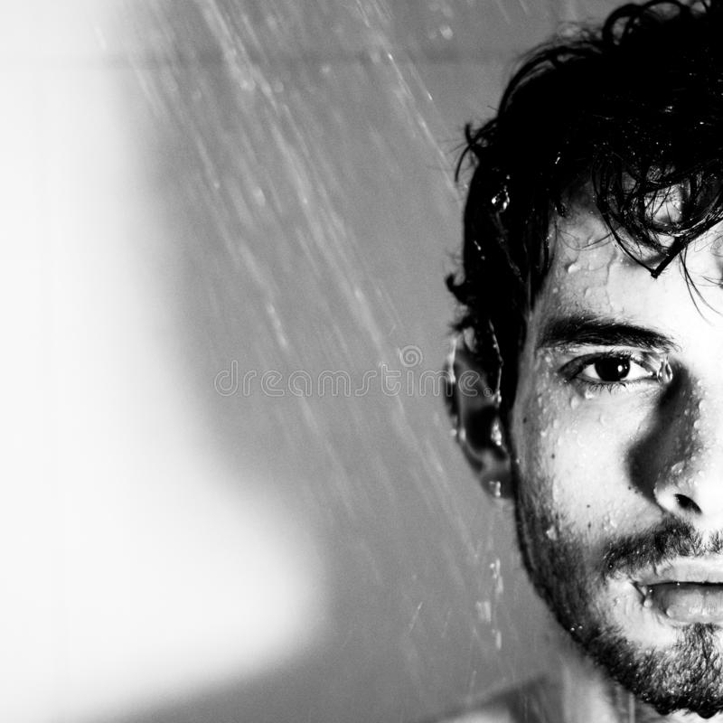 Wet water shower portrait black and white royalty free stock photos