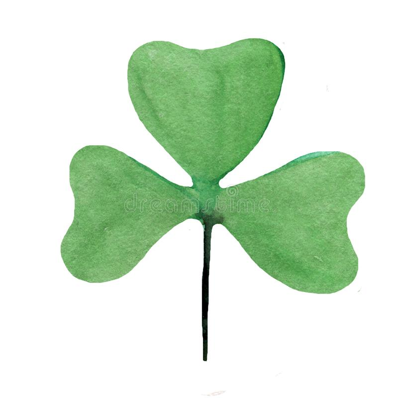 Wet Watercolor Four leaf clover. Abstract St. Patrick watercolo royalty free illustration