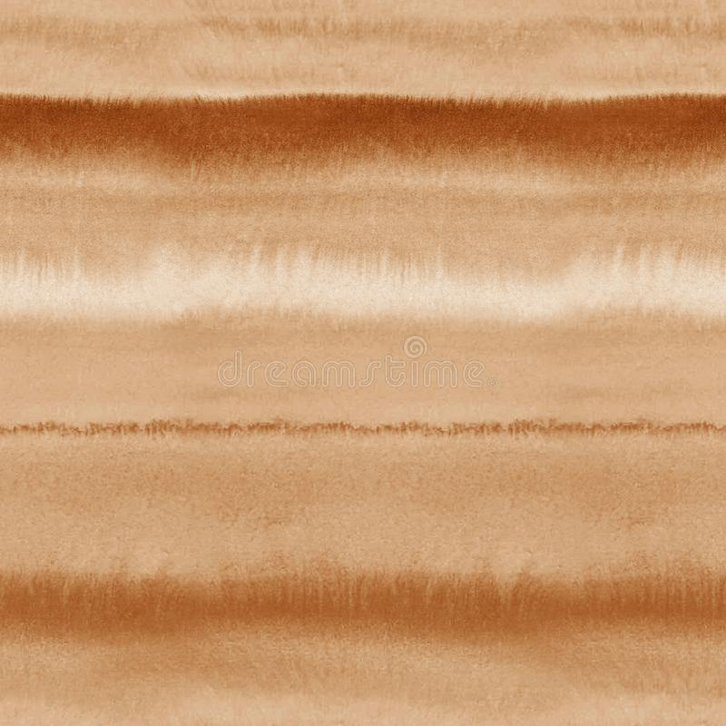 Wet watercolor seamless sepia pattern with blurred stripes. royalty free stock photography