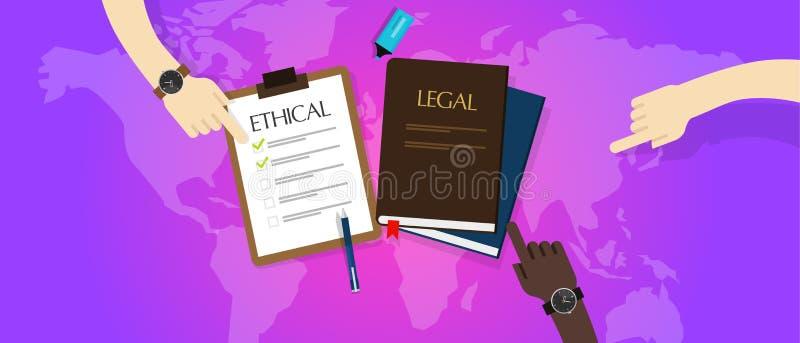 Wet wettelijk versus ethische ethiek royalty-vrije illustratie