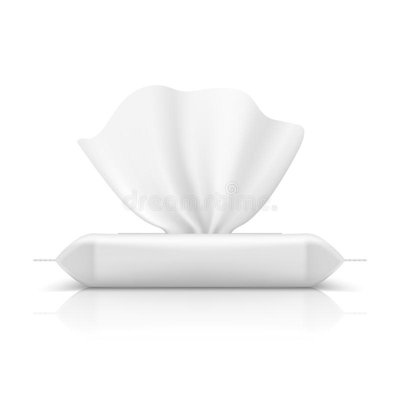 Wet wipes flow pack. Baby tissue realistic packaging blank makeup product napkin plastic package. Flow pack vector. Wet wipes flow pack. Baby tissue realistic stock illustration