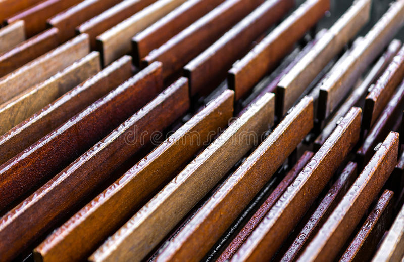 Wood abstract background. Wet wood abstract background on a winter day stock photo