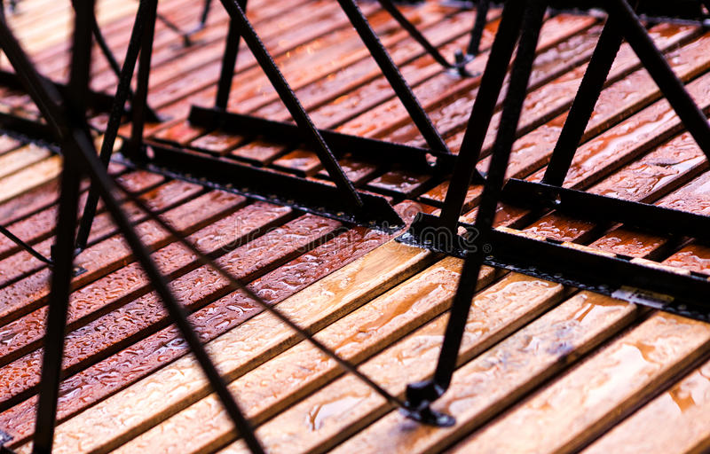 Wet wood abstract. Rainy abstract background on a winter day stock image