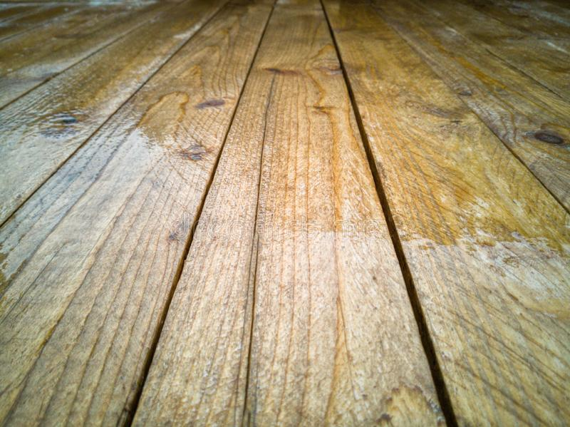 Wet wood table background stock images