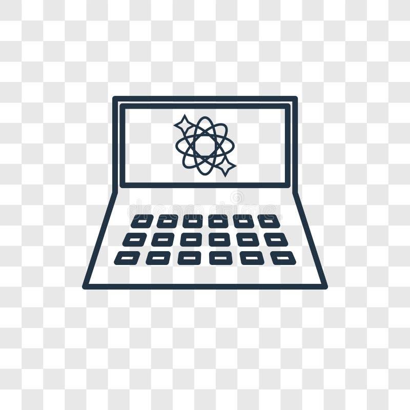 Wetenschap in een Laptop concepten vector lineair pictogram trans royalty-vrije illustratie