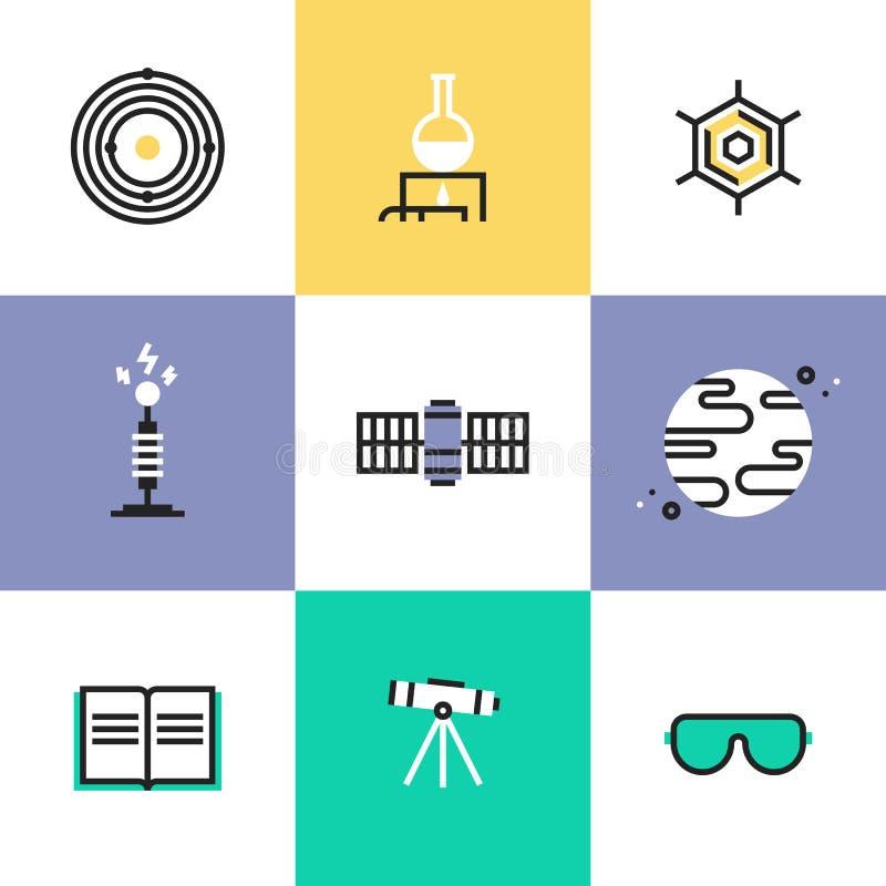 Wetenschap en astronomie geplaatste pictogrampictogrammen royalty-vrije illustratie
