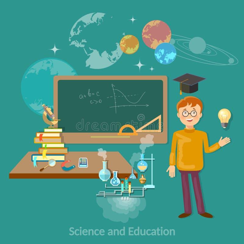 Wetenschap en de astronomiechemie van de onderwijsstudent royalty-vrije illustratie