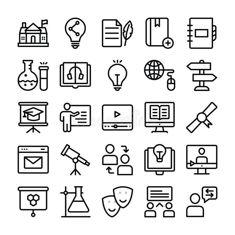 Wetenschap en Onderwijs het Pak van Lijnpictogrammen stock illustratie