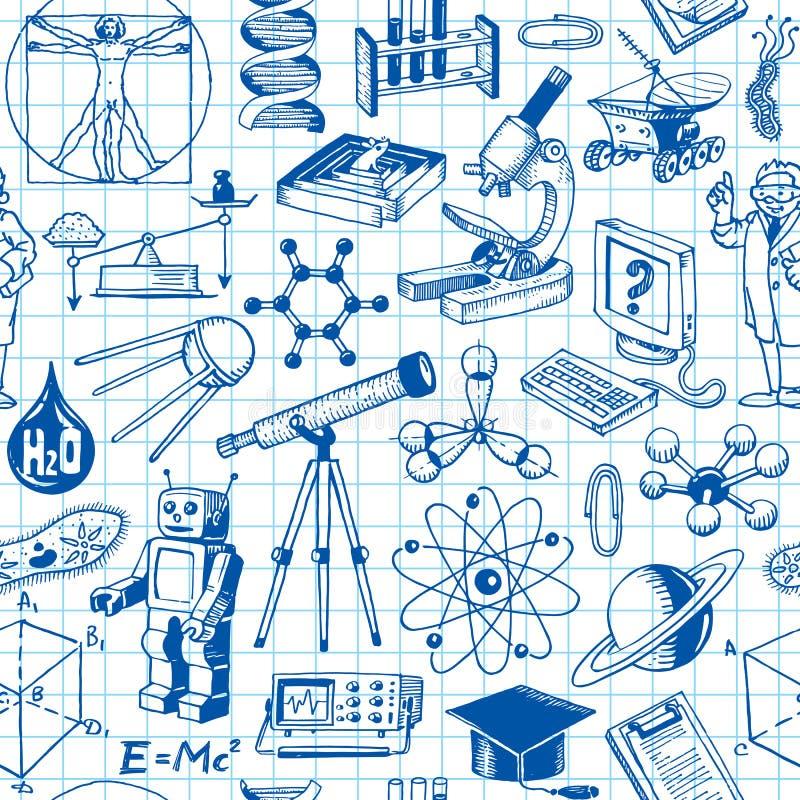 Wetenschap en Onderwijs Naadloos Patroon vector illustratie