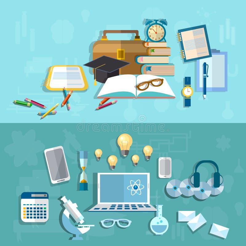 Wetenschap en Onderwijs: student, experiment, vectorbanners stock illustratie