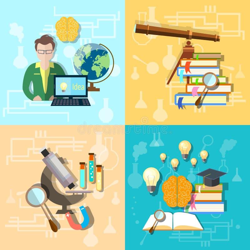 Wetenschap en onderwijs: studenten, universiteit, vastgestelde vectorpictogrammen vector illustratie