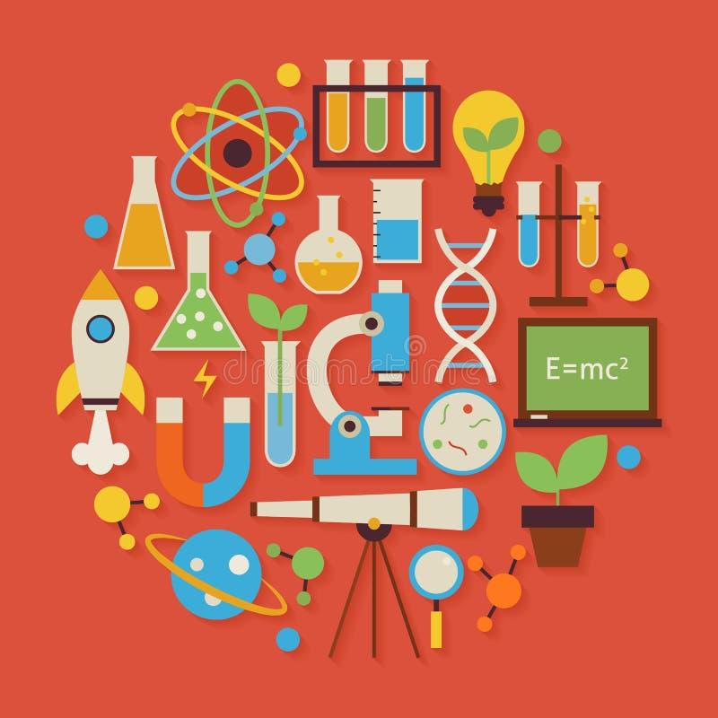Wetenschap en Onderwijs Vector Vlakke Ontwerpcirkel Gestalte gegeven Voorwerpen S stock illustratie