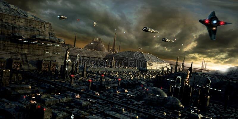 Wetenschap-fictie stad en landschap royalty-vrije illustratie