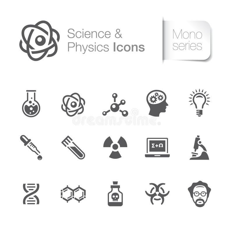 Wetenschap & fysica verwante pictogrammen stock illustratie