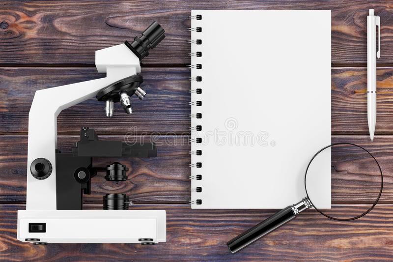 Wetenschap of het Leren Concept Microscoop, Vergrootglas en Nr stock illustratie