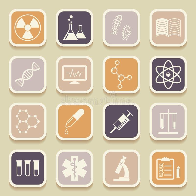 Wetenschap, medische en onderwijs universele pictogrammen royalty-vrije illustratie