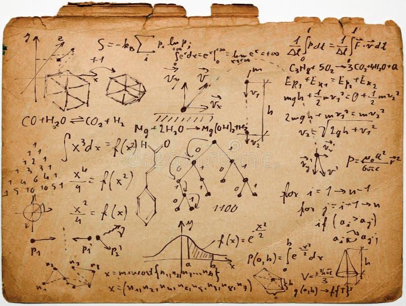Wetenschap op oud document stock fotografie
