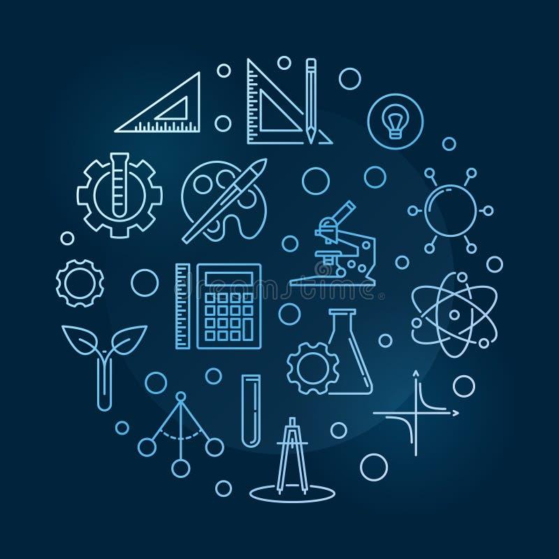 Wetenschap, Technologie, Techniek, de Kunsten en de Wiskunde royalty-vrije illustratie
