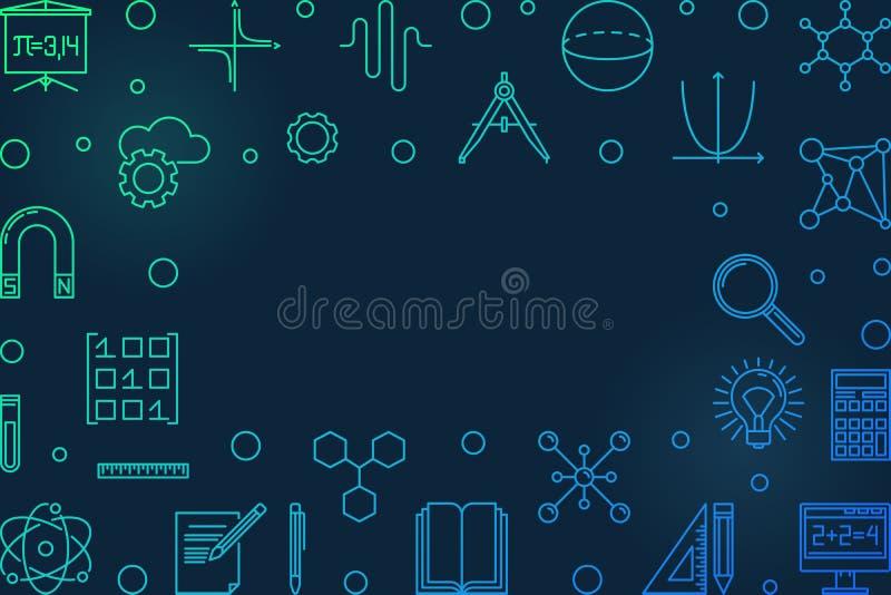 Wetenschap, technologie, techniek en wiskunde blauw horizontaal kader stock illustratie