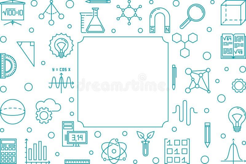 Wetenschap, Technologie, Techniek en Wiskunde blauw kader stock illustratie