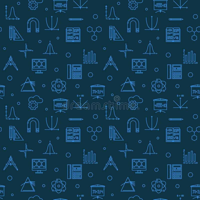 Wetenschap, Technologie, Techniek en Wiskunde blauw patroon vector illustratie