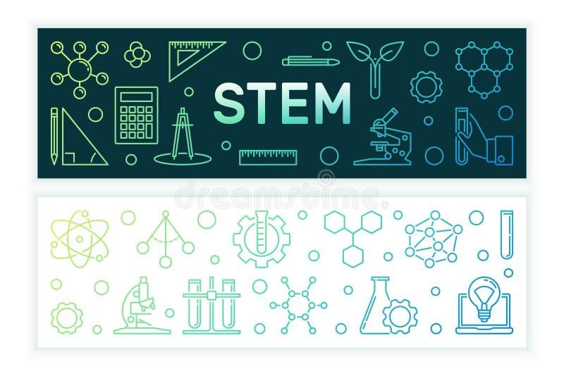 Wetenschap, Technologie, Techniek en Wiskunde gekleurde banners royalty-vrije illustratie