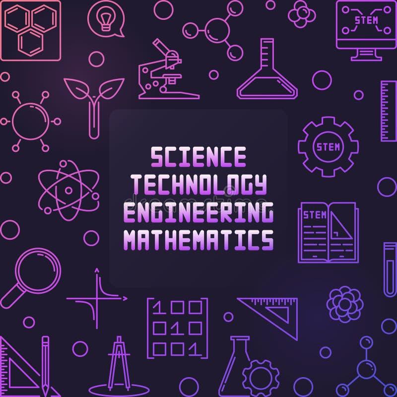 Wetenschap, Technologie, Techniek en Wiskunde kleurrijk kader royalty-vrije illustratie