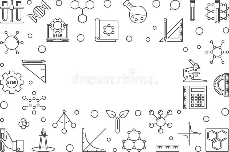 Wetenschap, technologie, techniek en wiskunde vectorkader stock illustratie