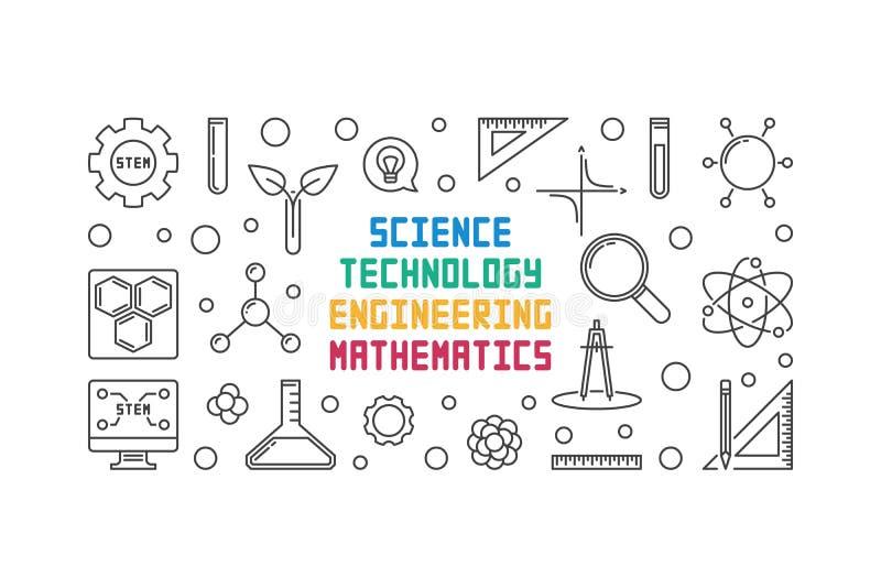 Wetenschap, Technologie, Techniek en Wiskunde vectorlijnbanner vector illustratie