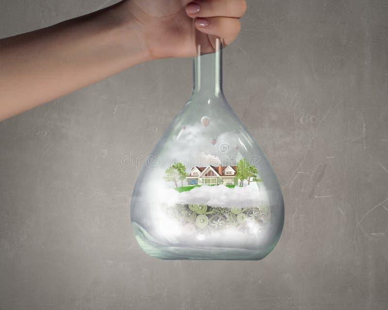 Wetenschap voor het groene gezonde leven stock afbeelding