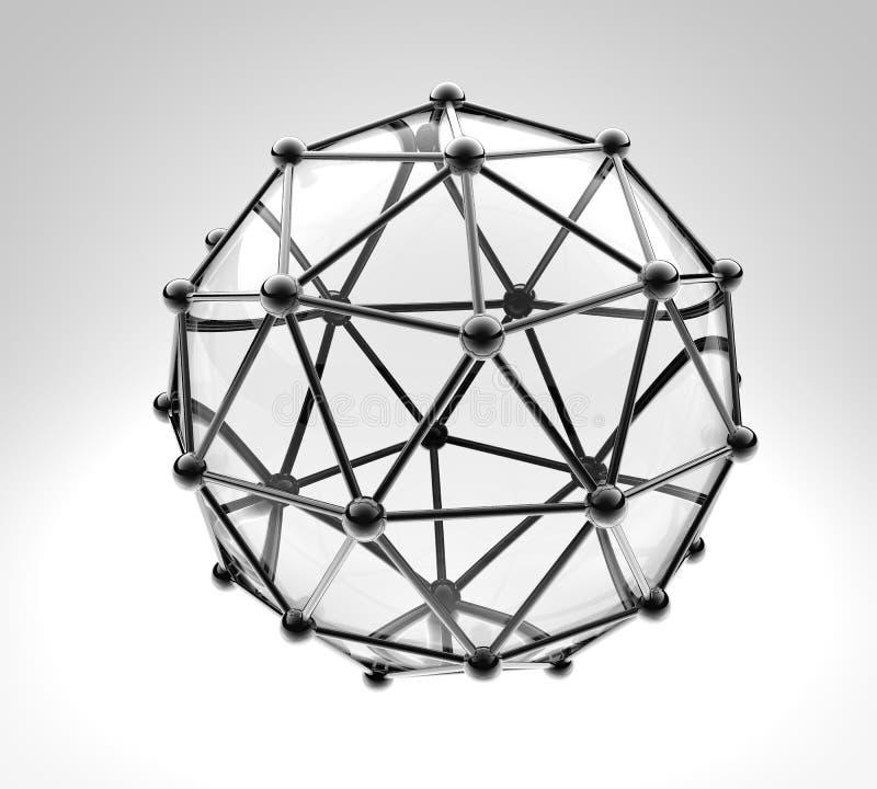 Wetenschappelijk 3D model van de molecule, een atoom royalty-vrije illustratie