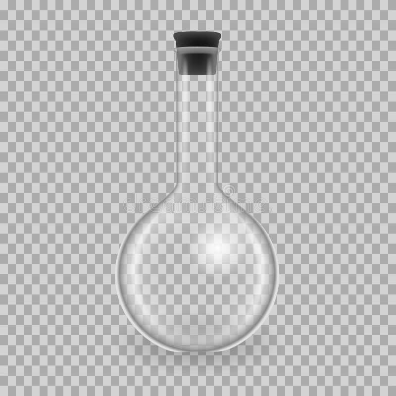 Wetenschappelijk glaswerk, reageerbuizen Realistische malplaatjes om fles, model vector illustratie