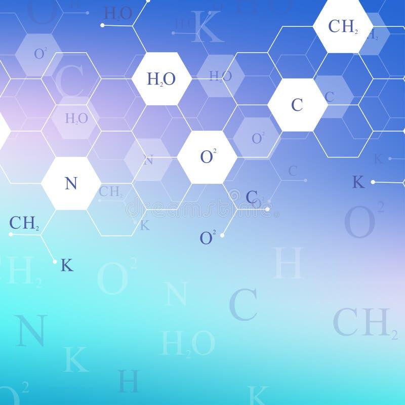 Wetenschappelijk hexagonaal chemiepatroon Het onderzoek van DNA van de structuurmolecule als concept Wetenschap en technologieach stock illustratie