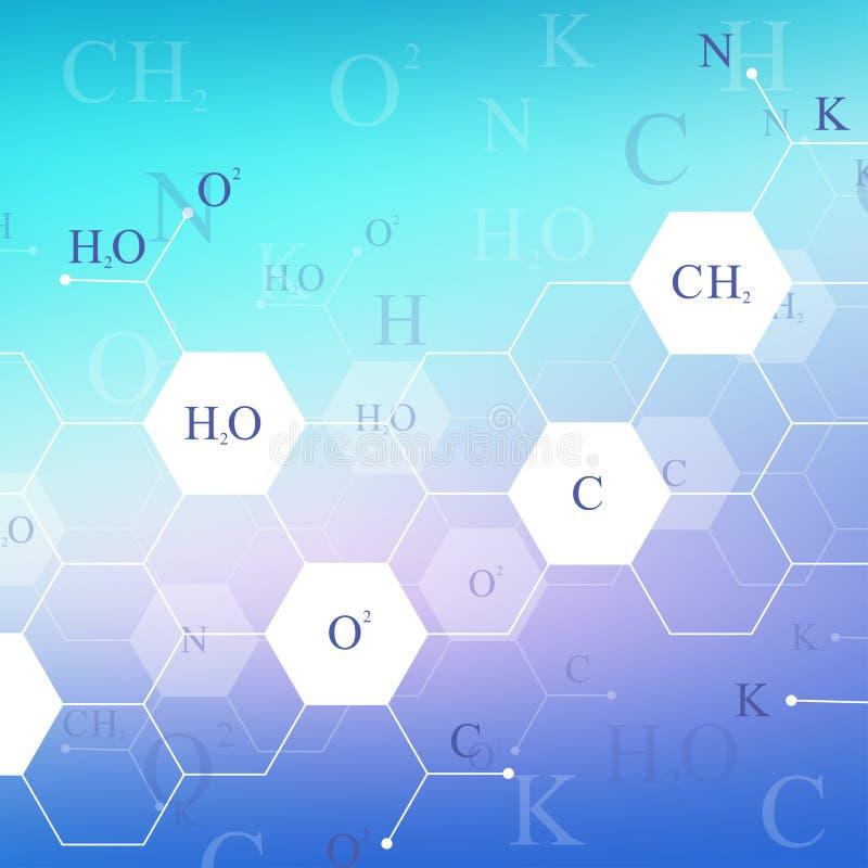 Wetenschappelijk hexagonaal chemiepatroon Het onderzoek van DNA van de structuurmolecule als concept Wetenschap en technologieach royalty-vrije illustratie
