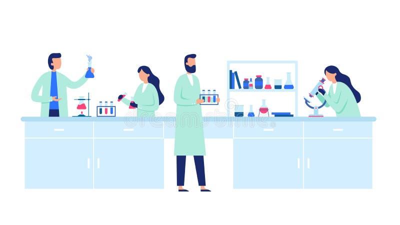 Wetenschappelijk Onderzoek Wetenschappermensen die laboratoriumlagen, wetenschapsonderzoek en de chemische vector van laboratoriu vector illustratie