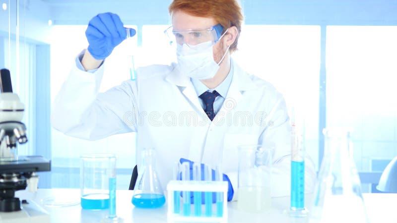 Wetenschappelijk onderzoeker die blauwe oplossing in reageerbuis in laboratorium bekijken royalty-vrije stock afbeelding