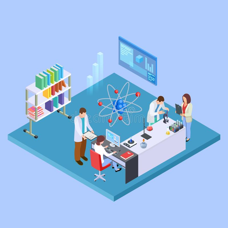 Wetenschappelijk onderzoeklaboratorium Isometrische chemieequpment en sciensists, farmaceutisch laboratoriumconcept royalty-vrije illustratie