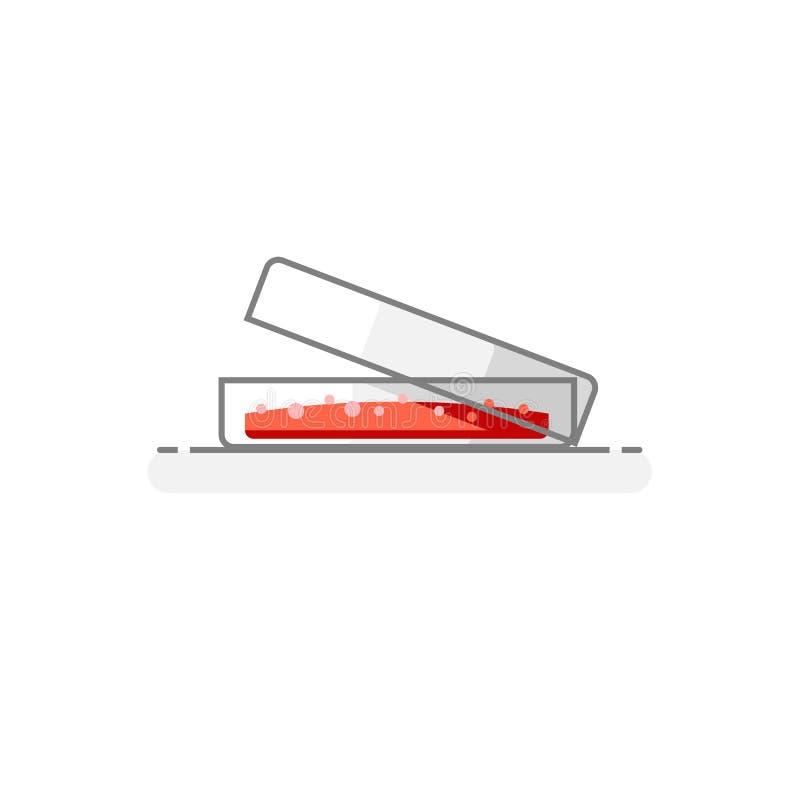 Wetenschappelijk Petri Dish - pictogram 6 van het Laboratoriumglaswerk vlak ontwerpconcept Vector illustratie stock illustratie