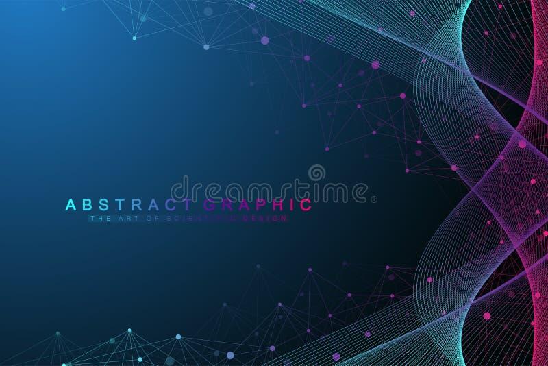 Wetenschappelijk vector van de illustratiegenetische biologie en biotechnologie concept DNA-schroef, DNA-bundel, molecule of atoo vector illustratie