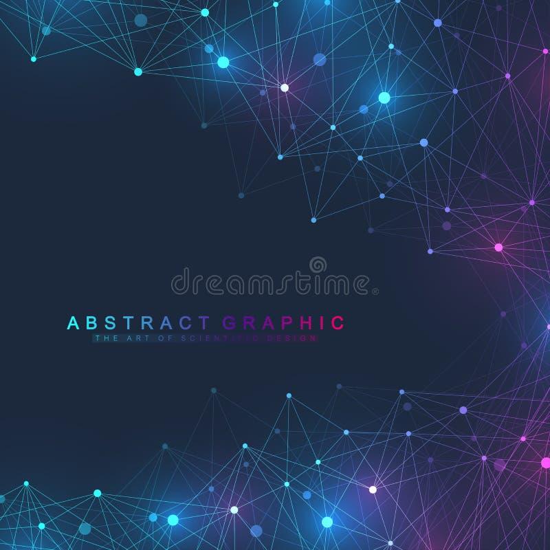 Wetenschappelijk vector van de illustratiegenetische biologie en biotechnologie concept DNA-schroef, DNA-bundel, molecule of atoo royalty-vrije illustratie