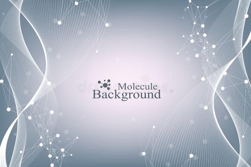 Wetenschappelijk vectorillustratiegenetische biologie en van de genmanipulatie concept DNA-schroef, DNA-bundel, molecule of stock illustratie