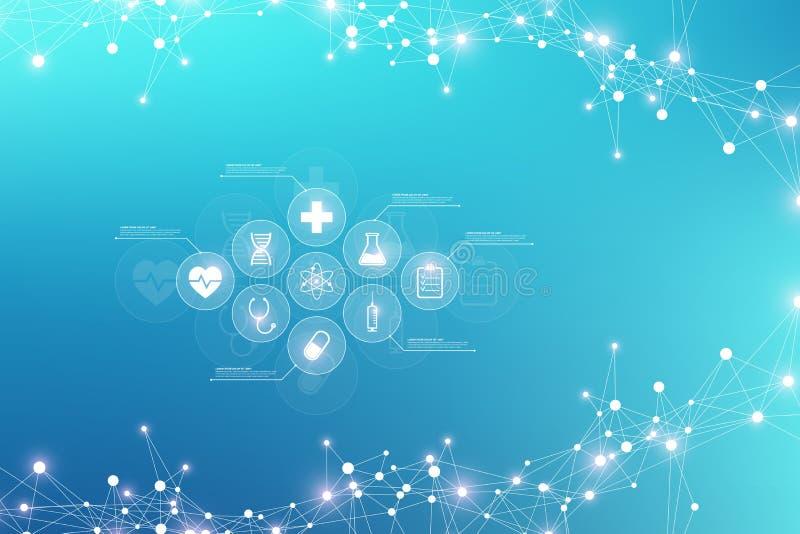 Wetenschappelijk vectorillustratiegenetische biologie en van de genmanipulatie concept DNA-schroef, DNA-bundel, molecule of vector illustratie