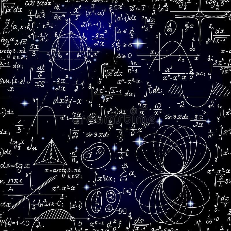 Wetenschappelijk wiskunde vector naadloos patroon met met de hand geschreven formules, cijfers en berekeningen vector illustratie